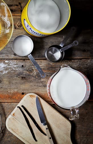 Baking Ingredients Scattered on Rustic Wood Surface