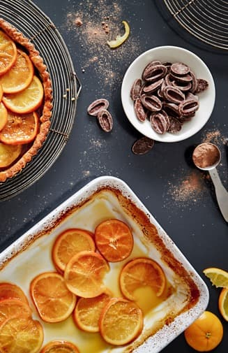 Orange and Chocolate Tart with Scattered Ingredients