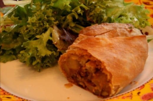 Pear and Roquefort Strudel served with a salad