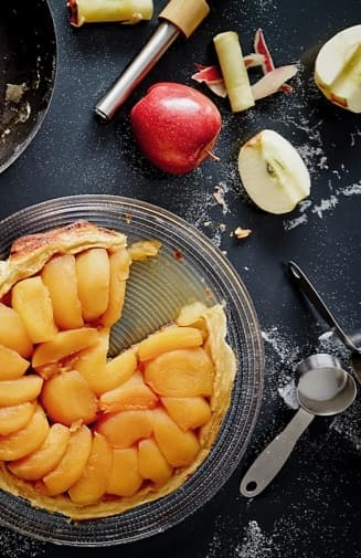 Baked Apple Tart on Table with Ingredients