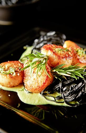 Squid Ink Pasta with Seared Scallops